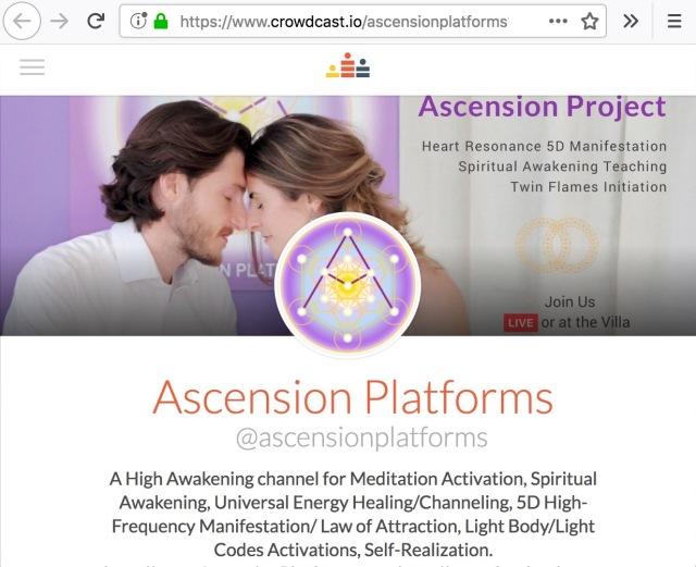 Ascension Platforms Online LiveStream / Recorded Meditation and Webinars